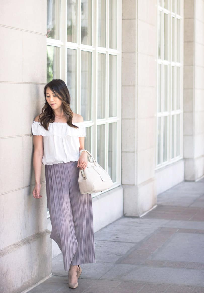 Toronto Fashion Blogger Style: plastel pleated culottes and off the shoulder blouse