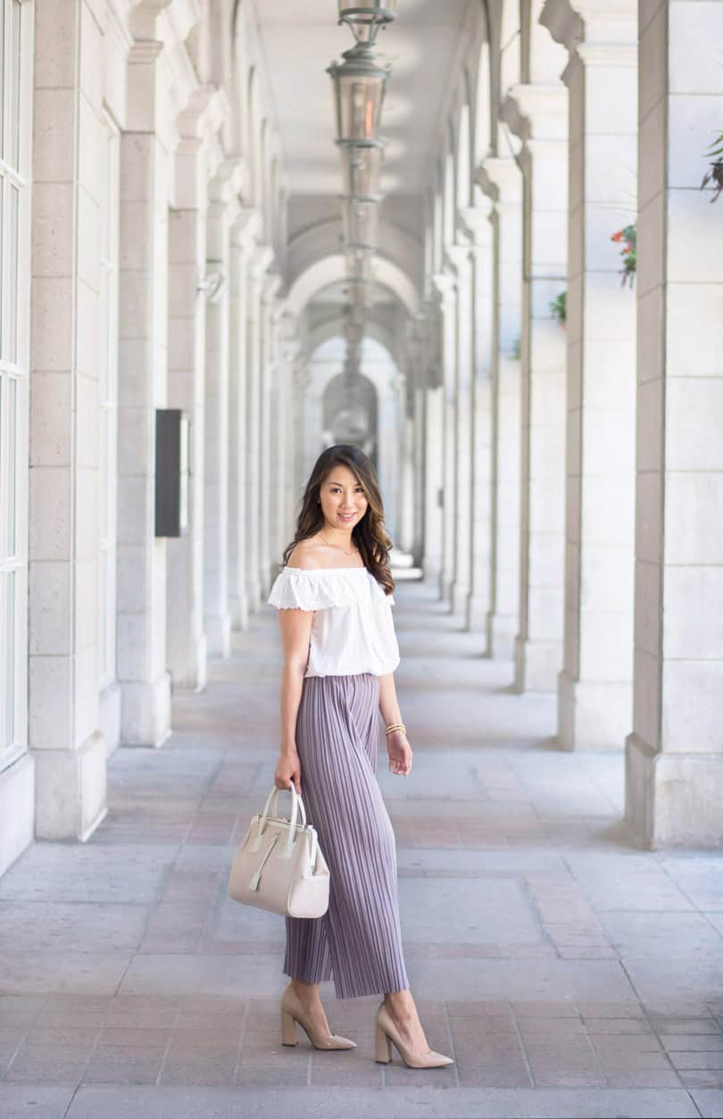 WIWT summer look: culottes and off the shoulder blouse