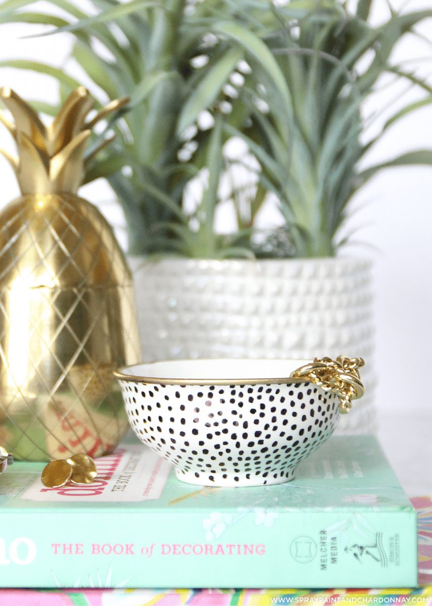 This spotted ring dish is too cute! This fun patterned was done with just a Sharpie marker!