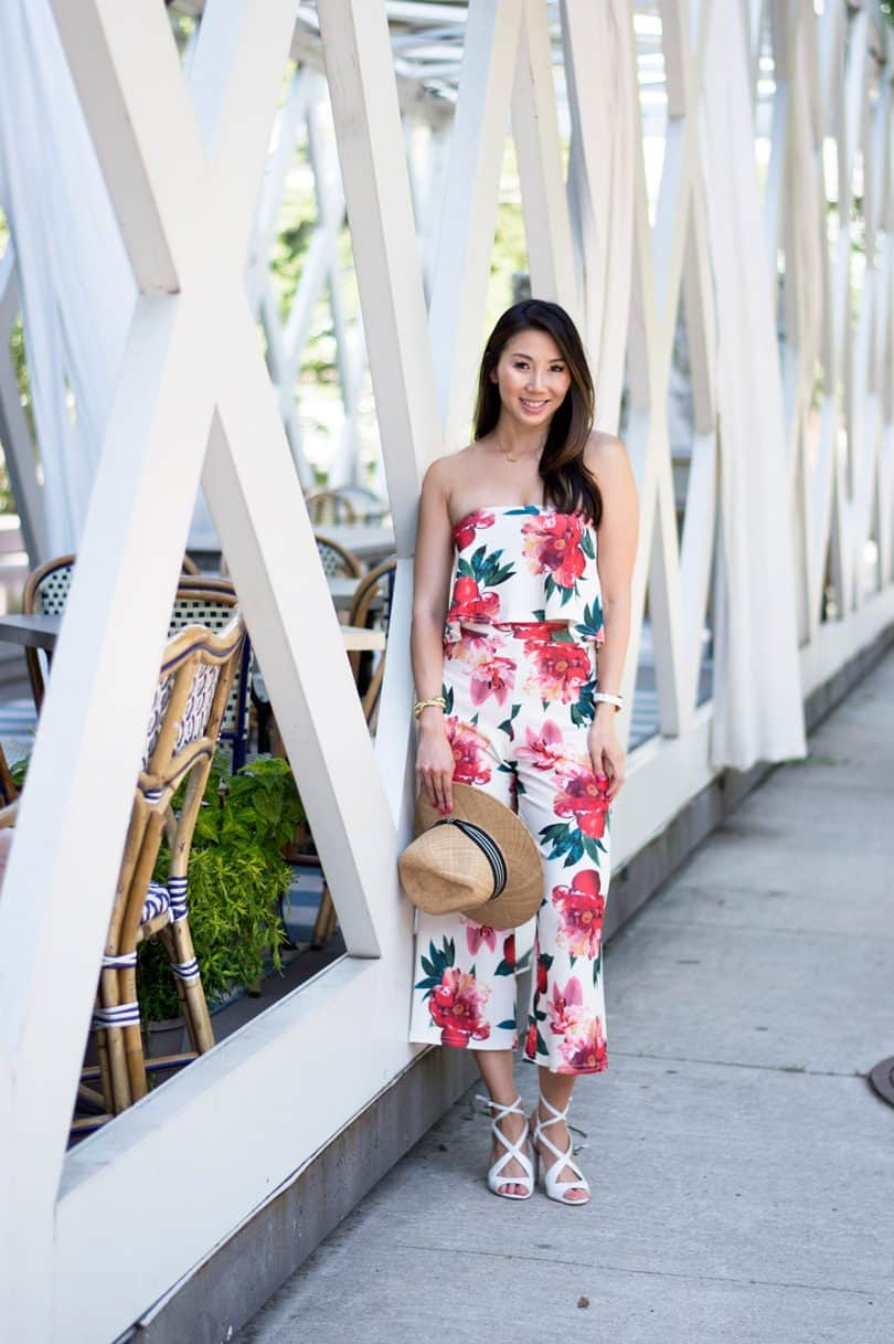 Summer Street Style: co-ord set with floral top and culottes from Boohoo x Stella Hudgens.