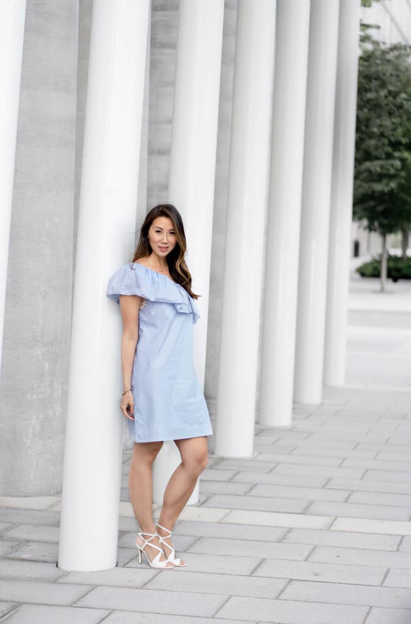 Summer street style: one shoulder striped summer dress