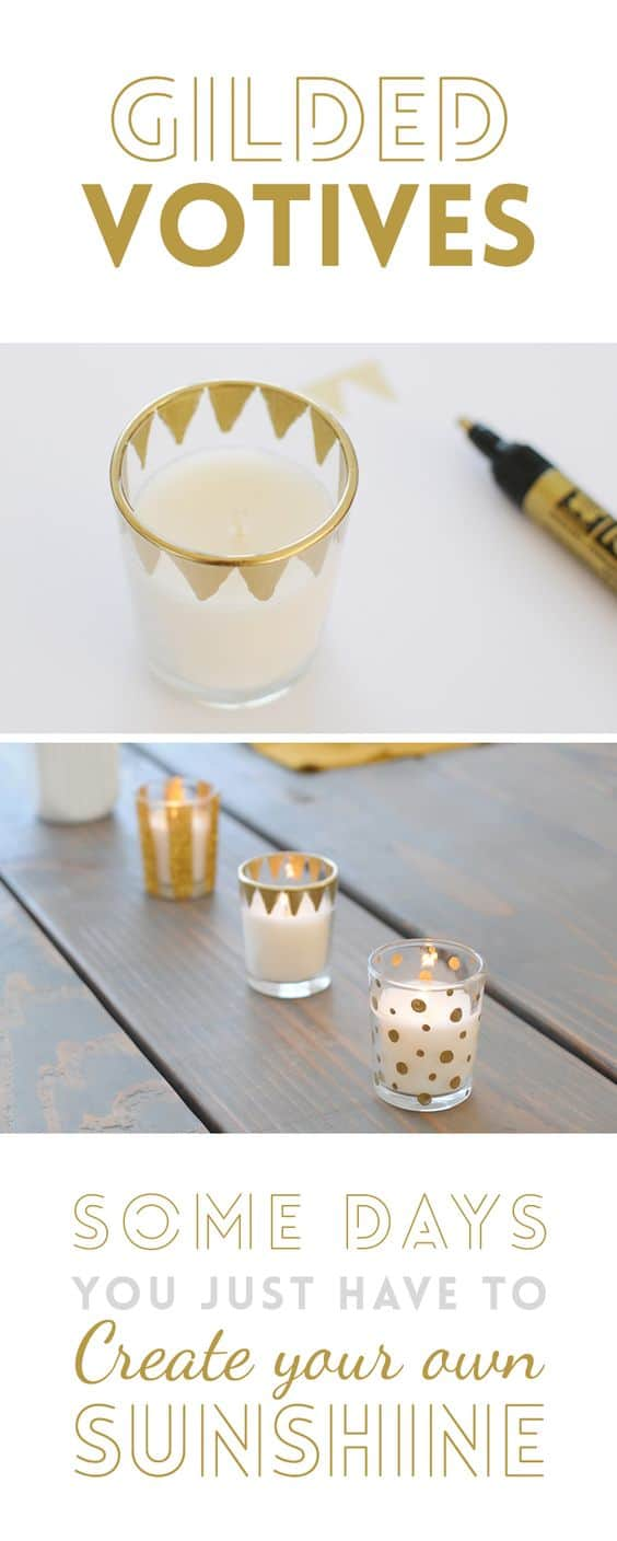 Make you own patterned gilded glass votives with a gold permanent marker