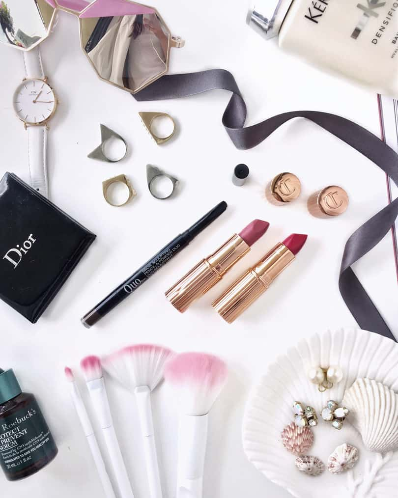Makeup flatlay with my monthly favorite beauty products