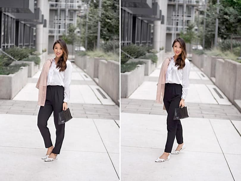 Boss babe style: silk shirt and trousers with pink moto jacket