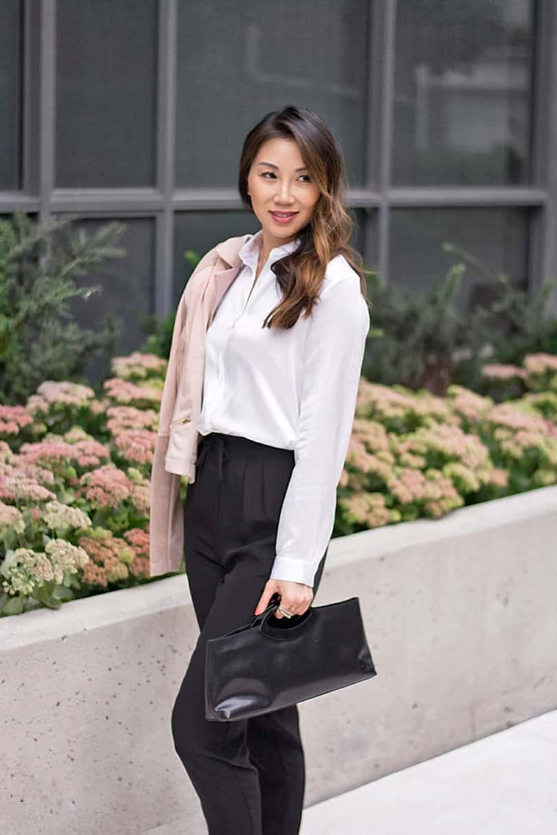 Toronto street style: Silk blouse and trousers from Lilysilk