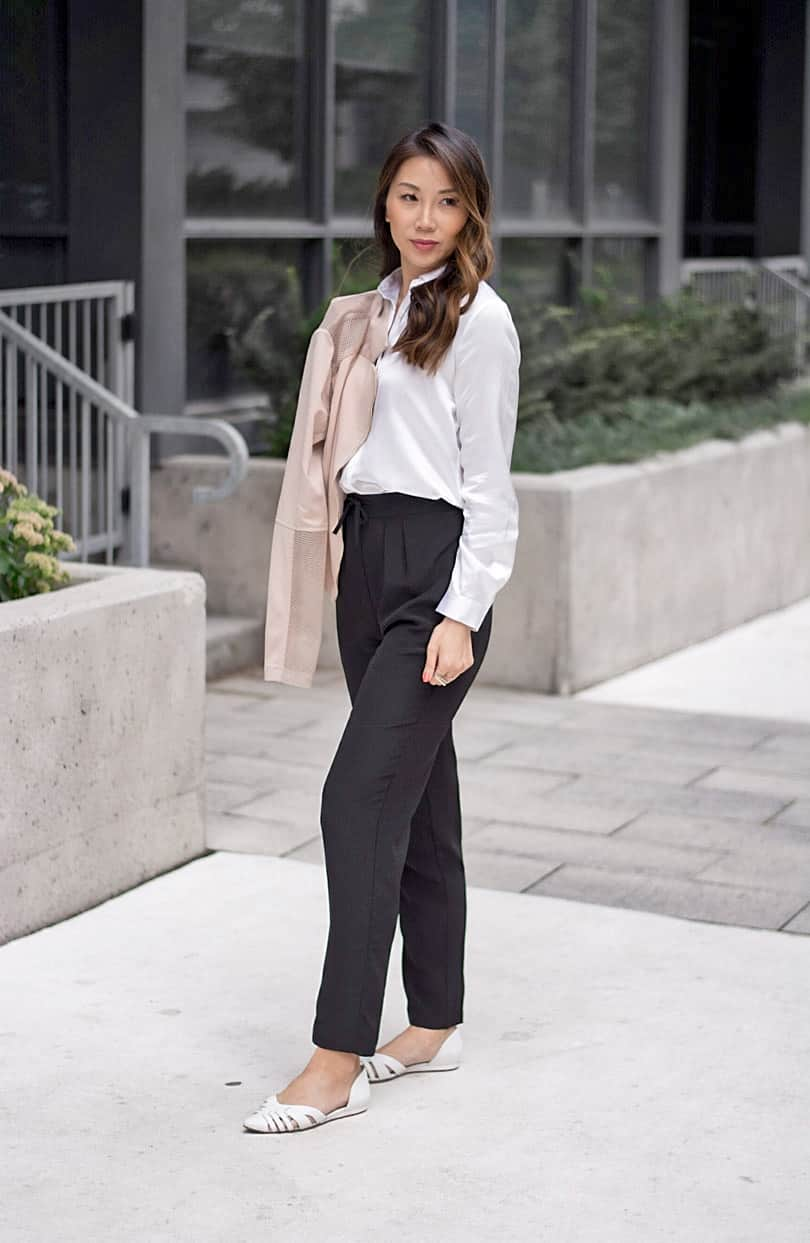 Lilysilk blouse and trousers with pink moto jacket from Windsorstore