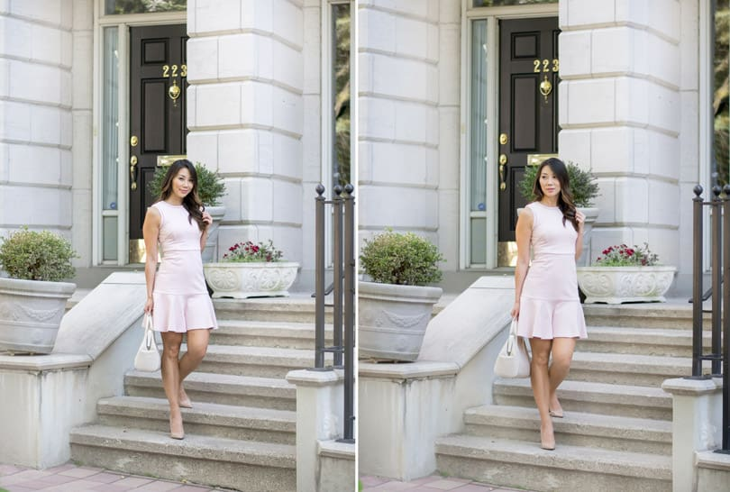 Toronto street style: Pretty pink dress with ruffle bottom
