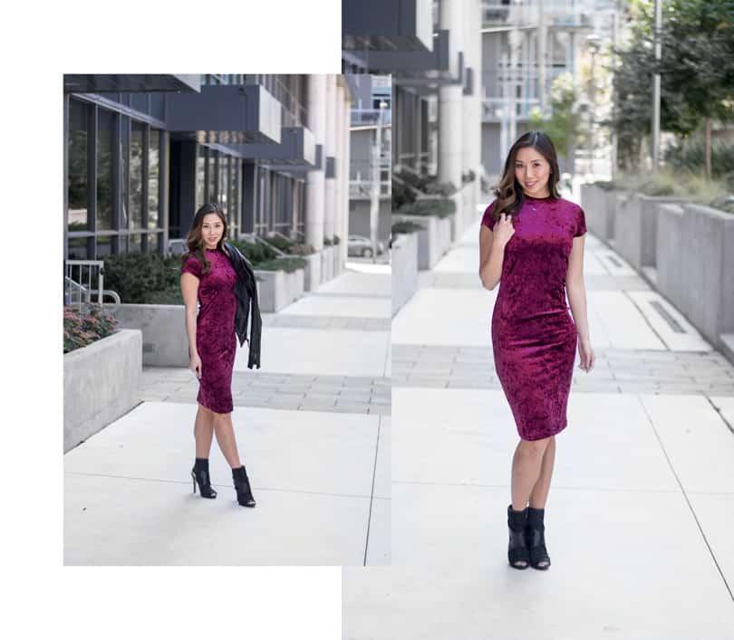 Style blogger: Burgundy velvet dress