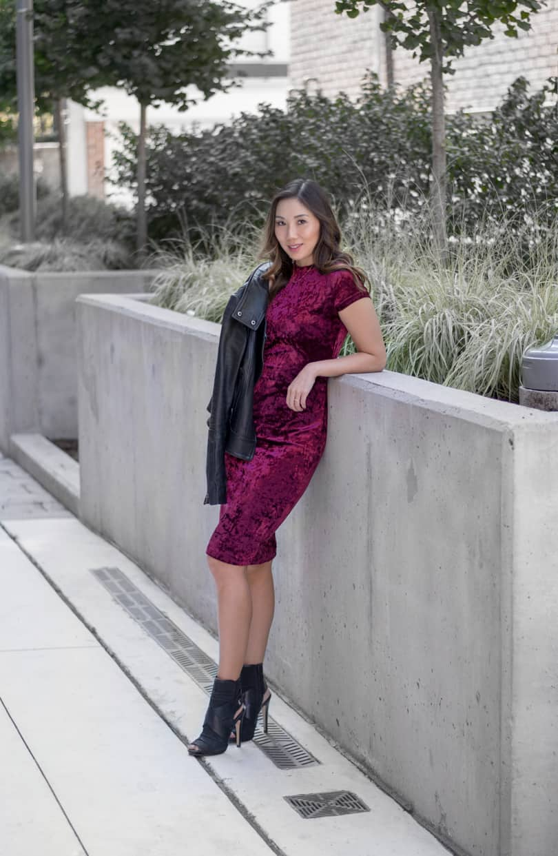 Fall style: velvet dress, leather jacket and ankle boots