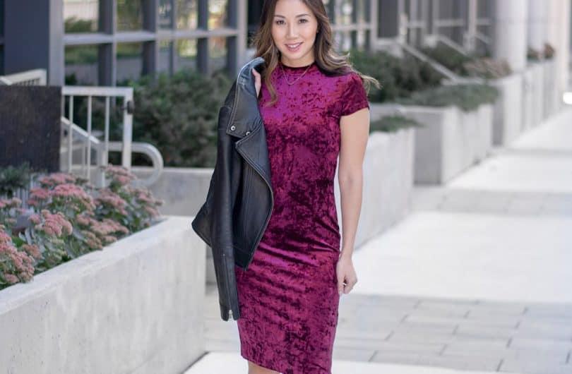 Velvet trend: red velvet dress
