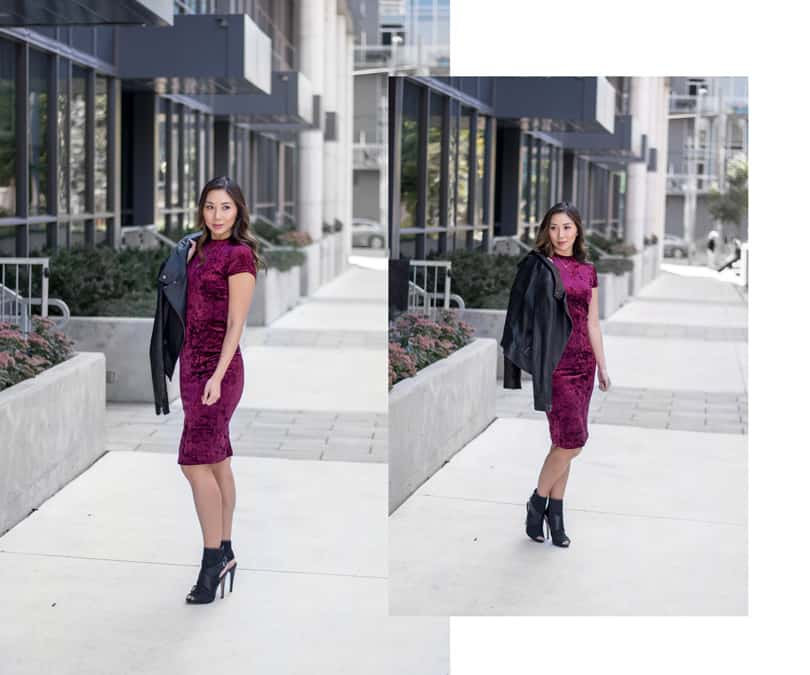 Street Style: Red velvet dress, Mackage leather jacket and black ankle boots