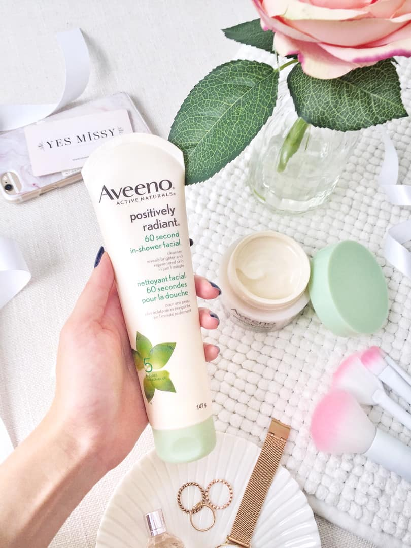 Aveeno's one minute in shower facial targets tone, texture, dullness, blotchiness, and brown spots while leaving your skin velvety soft and radiant