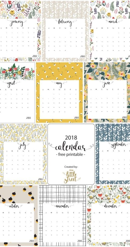 printable calendars for 2018