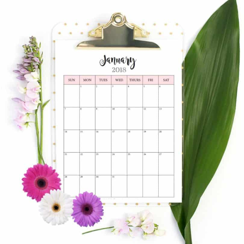 Download this simple pretty free 2018 calendar printable