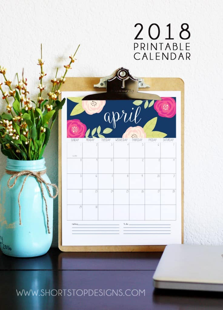 Free 2018 calendars that you can download, customize, and print.