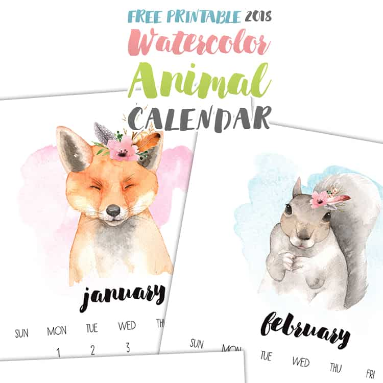 Attention all Animal LOVERS…This Free Printable 2018 Watercolor Animal Calendar is for you! From an adorable Fox to a cutie pie Squirrel…to a precious Pup and so much more…something for everyone.