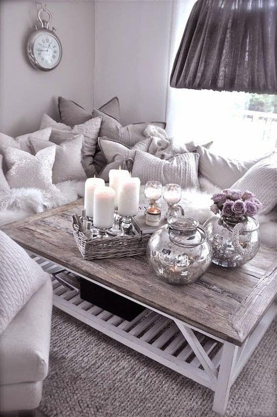 Cozy living room spaces, adding candles brings warmth to any room