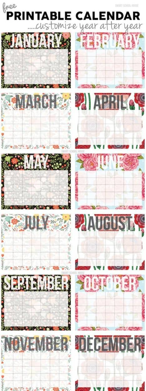 A great free printable customizable calendar you can use year after year