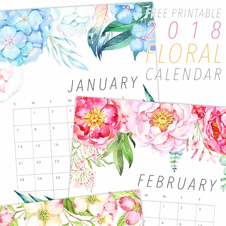 A gorgeous floral calendar, free to print and download