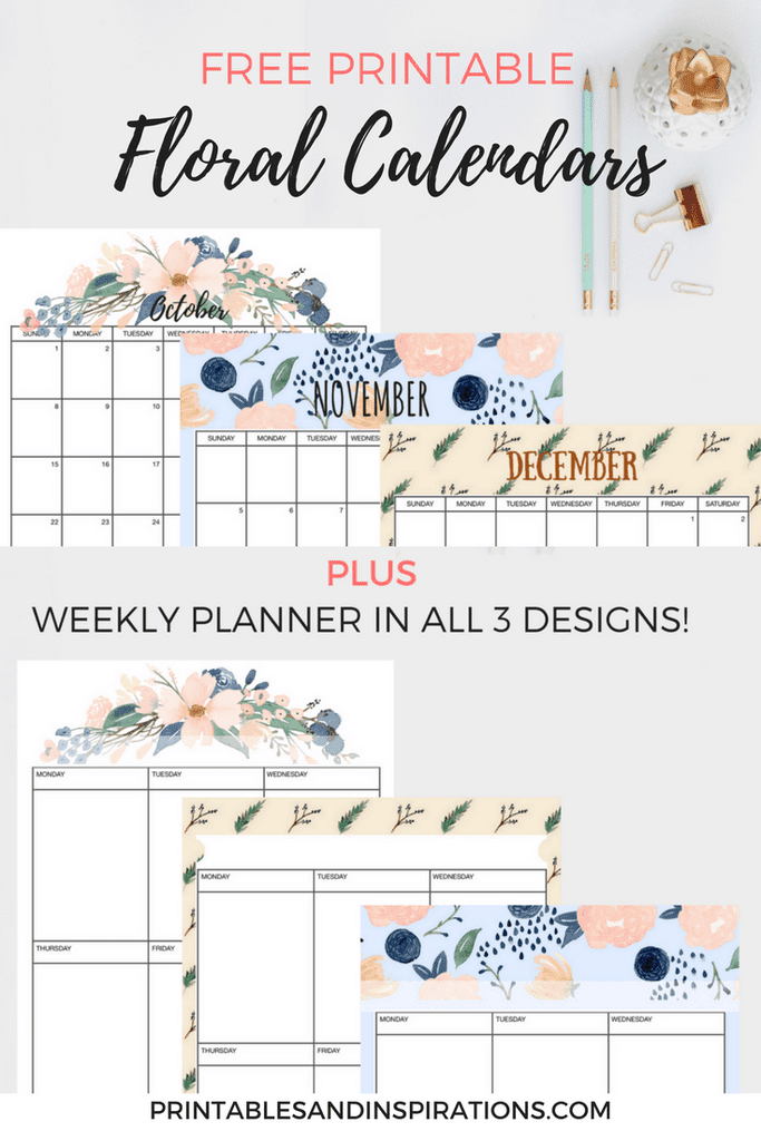 Download and print this free floral calendar and planner