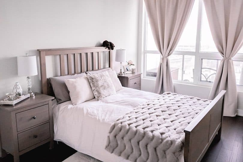 Cozy bedroom make over in neutrals. Love the fur throw!