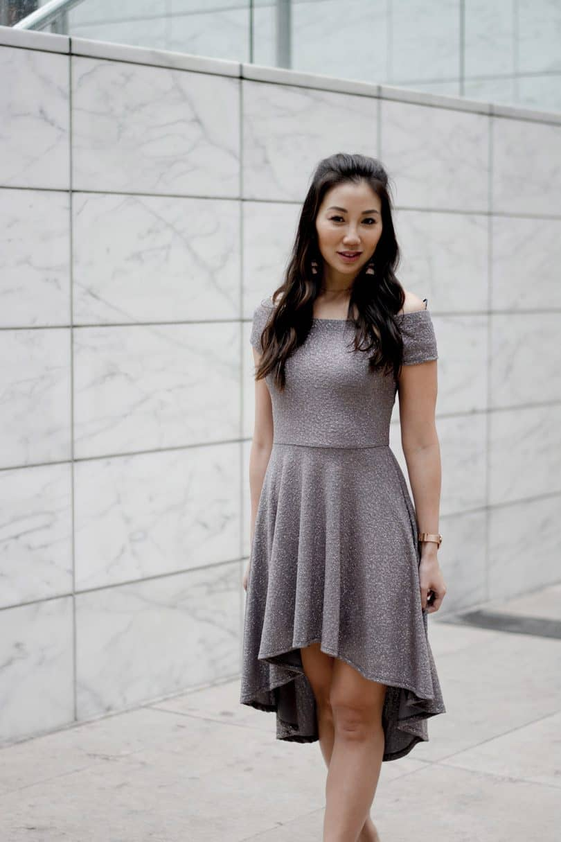 Silver party dress with OTS and highlow skirt.