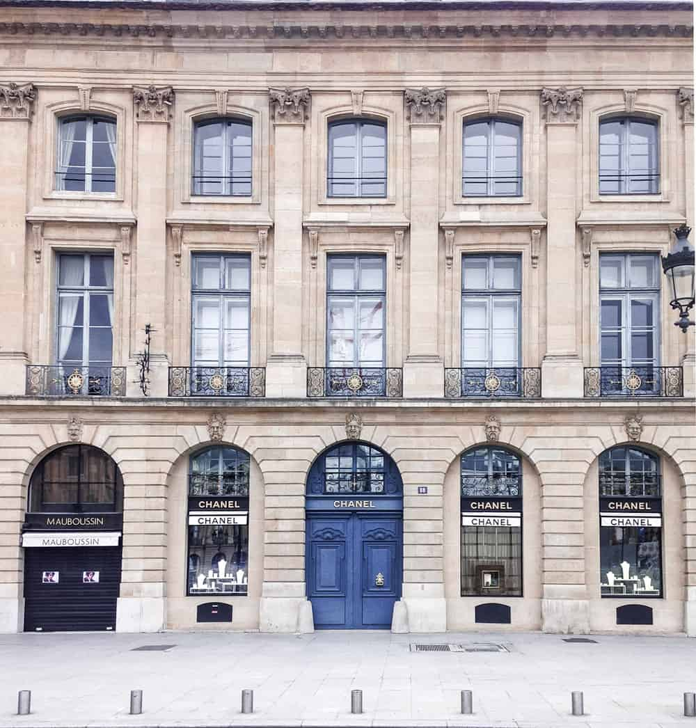 The iconic Chanel store in Place Vendome in the 1st Arr. In Paris from yesmissy.com travel diaries.