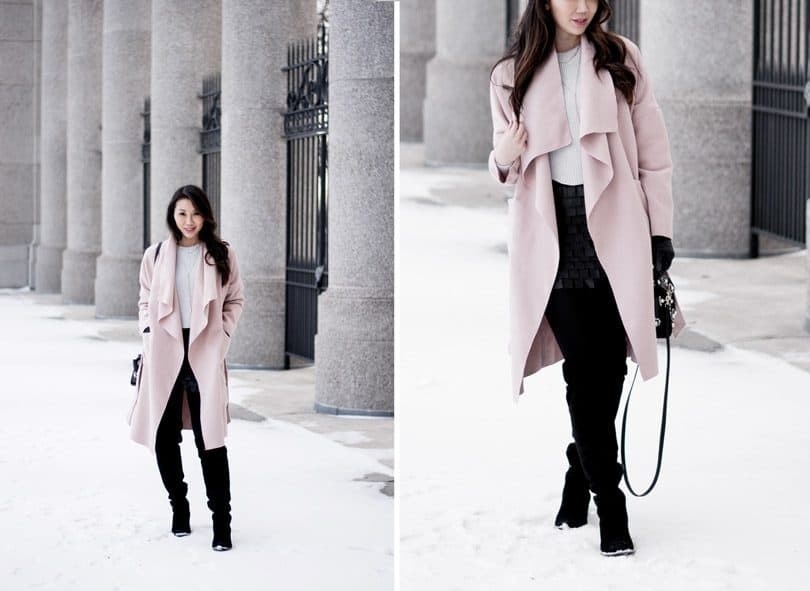 Winters feel a little more with some pink! Love this cozy pink waterfall coat.