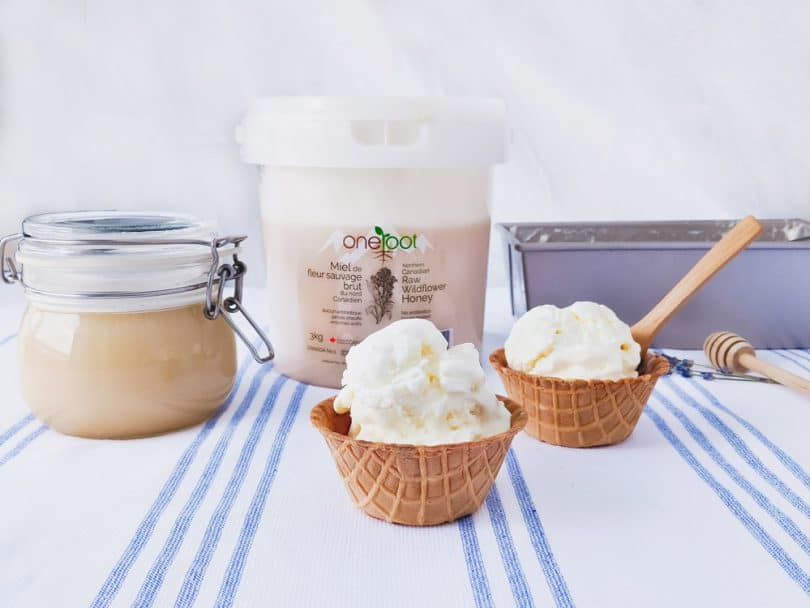 An easy 4 ingredient recipe to make homemade ice cream with One Root Wildflower Honey