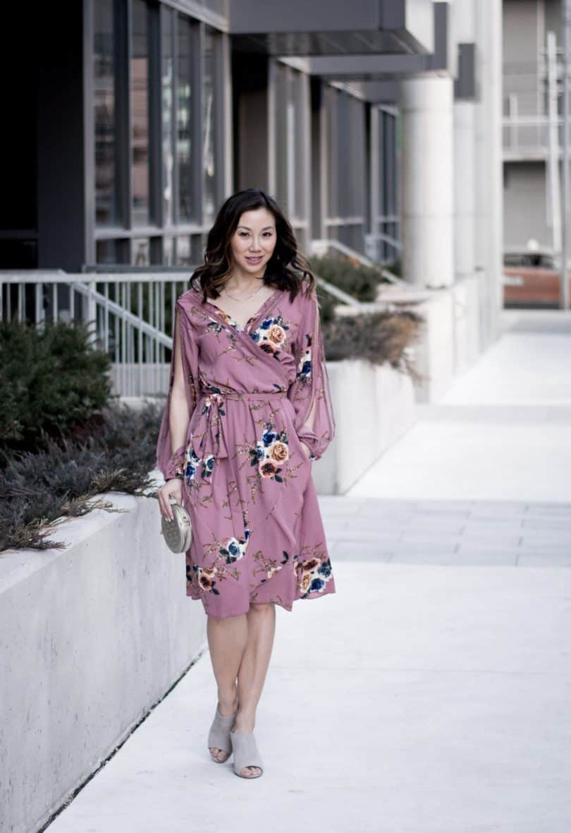Spring street style: pink floral dress, grey mules, silver clutch #ootd