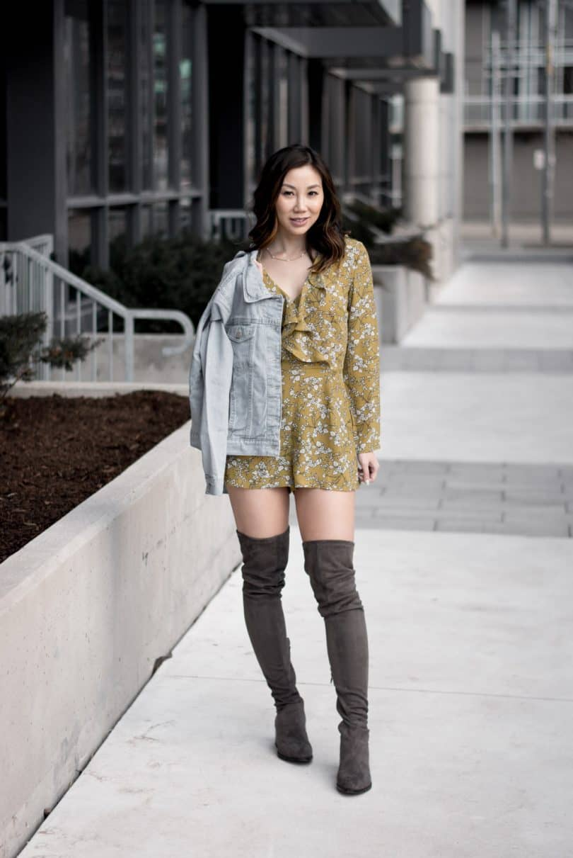 Summer/Spring Streetstyle: OTK boots, yellow floral romper, light blue denim jacket