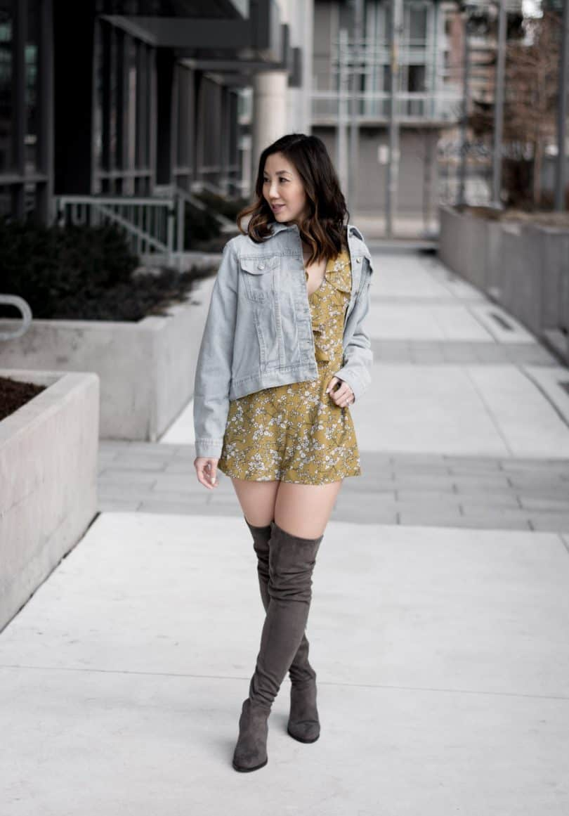 Spring Style from Boohoo: Floral yellow romper, denim jacket and OTK grey boots