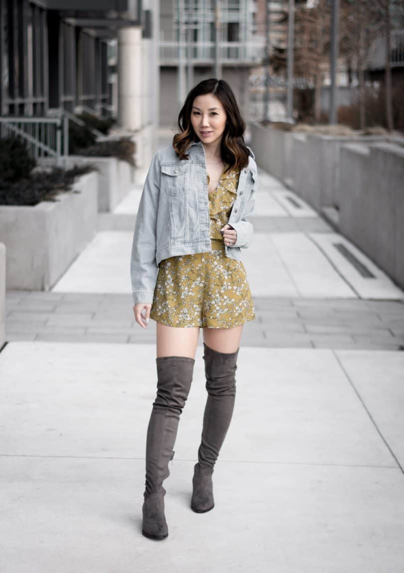 Spring/Summer Style: Spring Style from Boohoo: Floral yellow romper, denim jacket and OTK grey boots #fashionblogger #streetstyle #Toronto