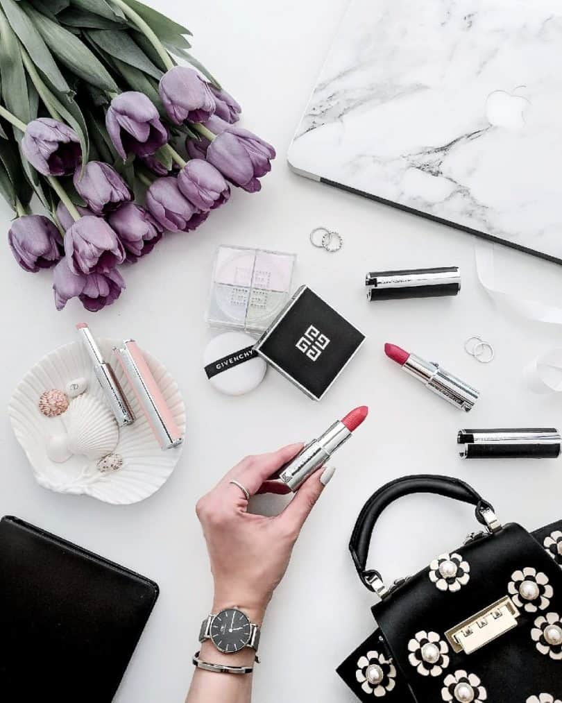 Beauty Flatlay: GIvenchy Makeup Icons - PRISME LIBRE, lipstick and lip balm ...more at yesmissy.com