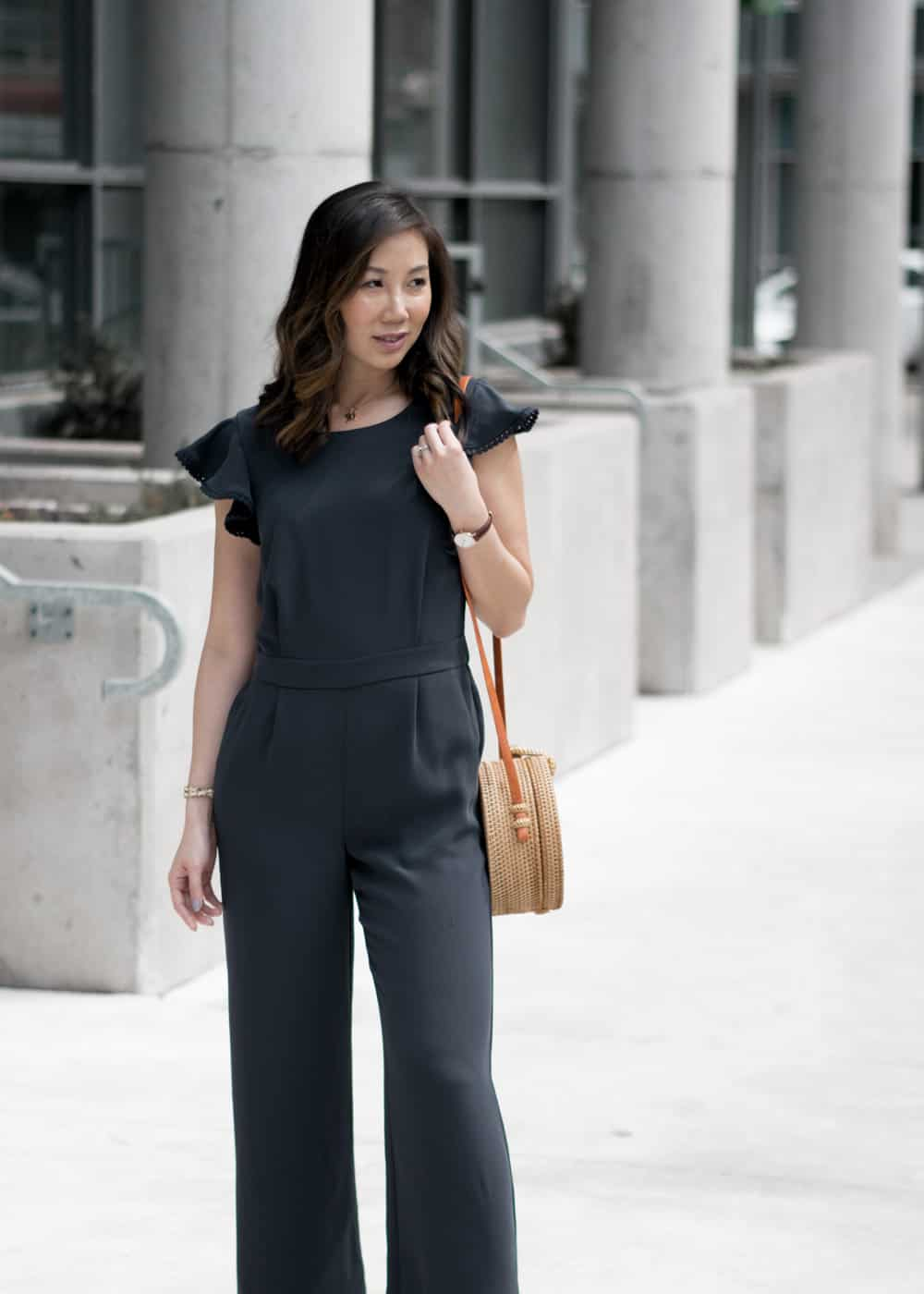 bf57c2524da Toronto-fashion-blogger -yesmissy-AnnTaylor-collaboration-rattan-round-bag-navy-jumpsuit-strappy-sandals