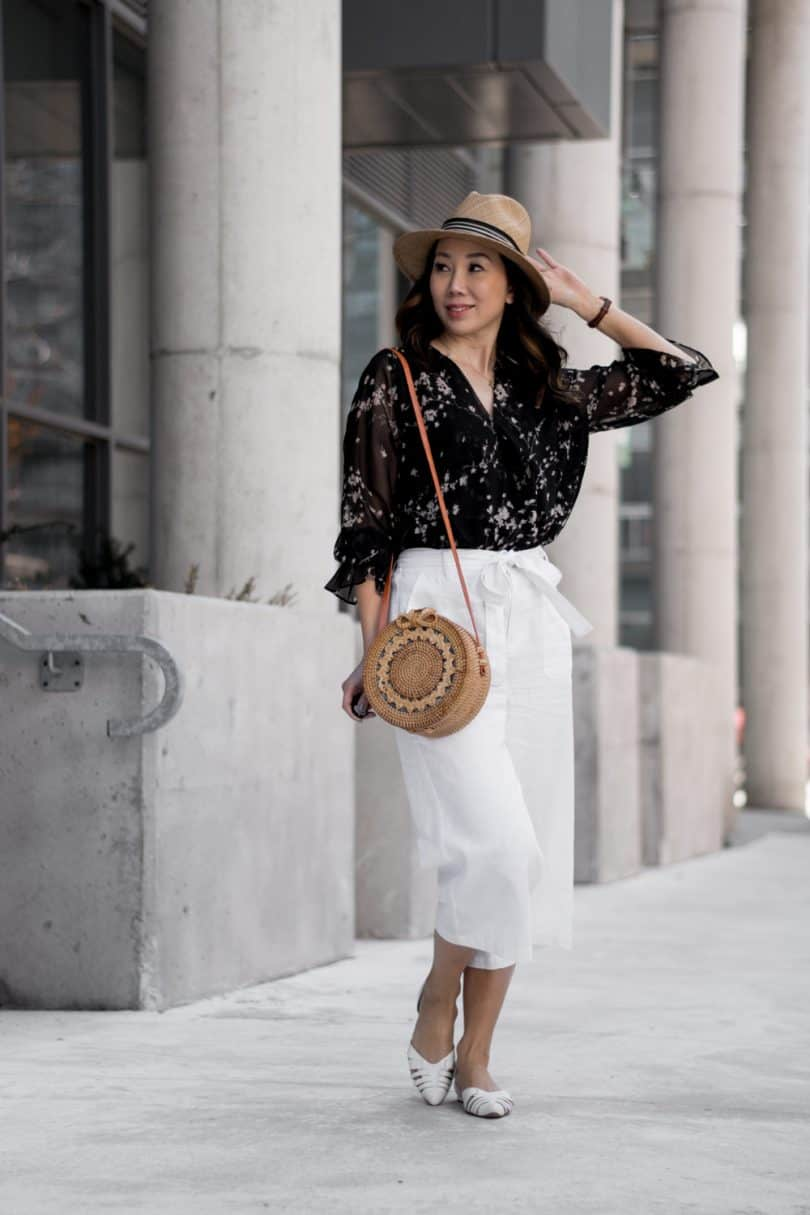 Spring look with white culottes and blouse from Alison Sheri with Bali round wicker bag