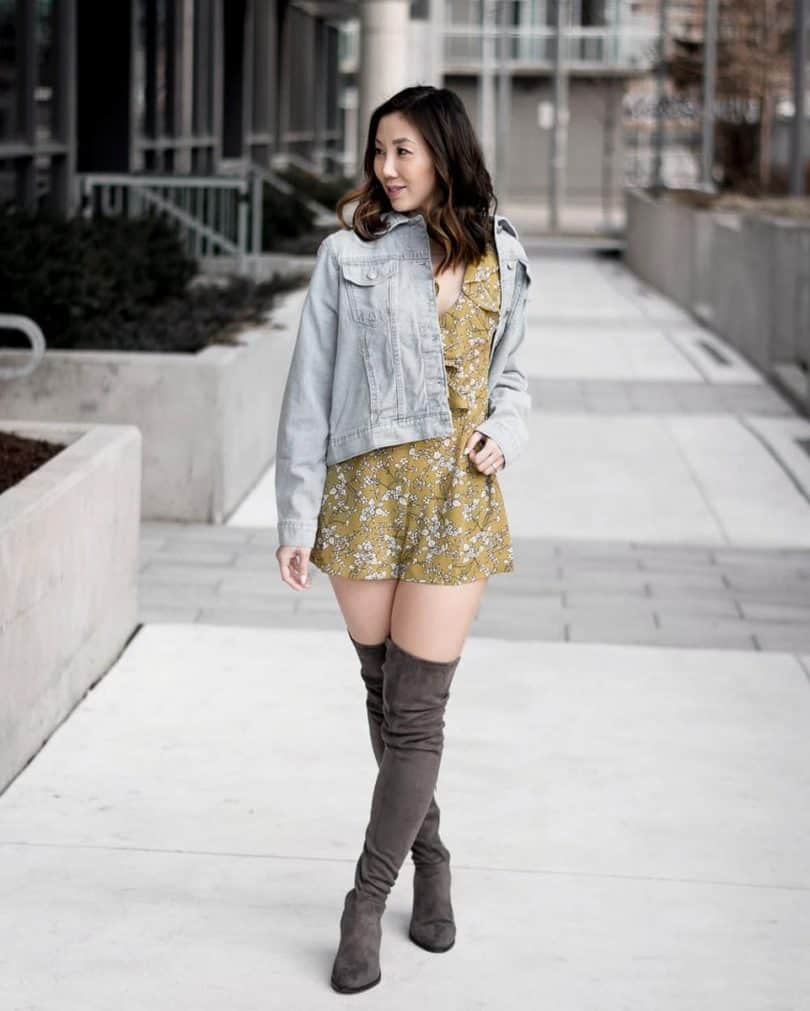 Spring #OOTD with yellow floral romper and denim jacket from BooHoo.. more at yesmissy.com