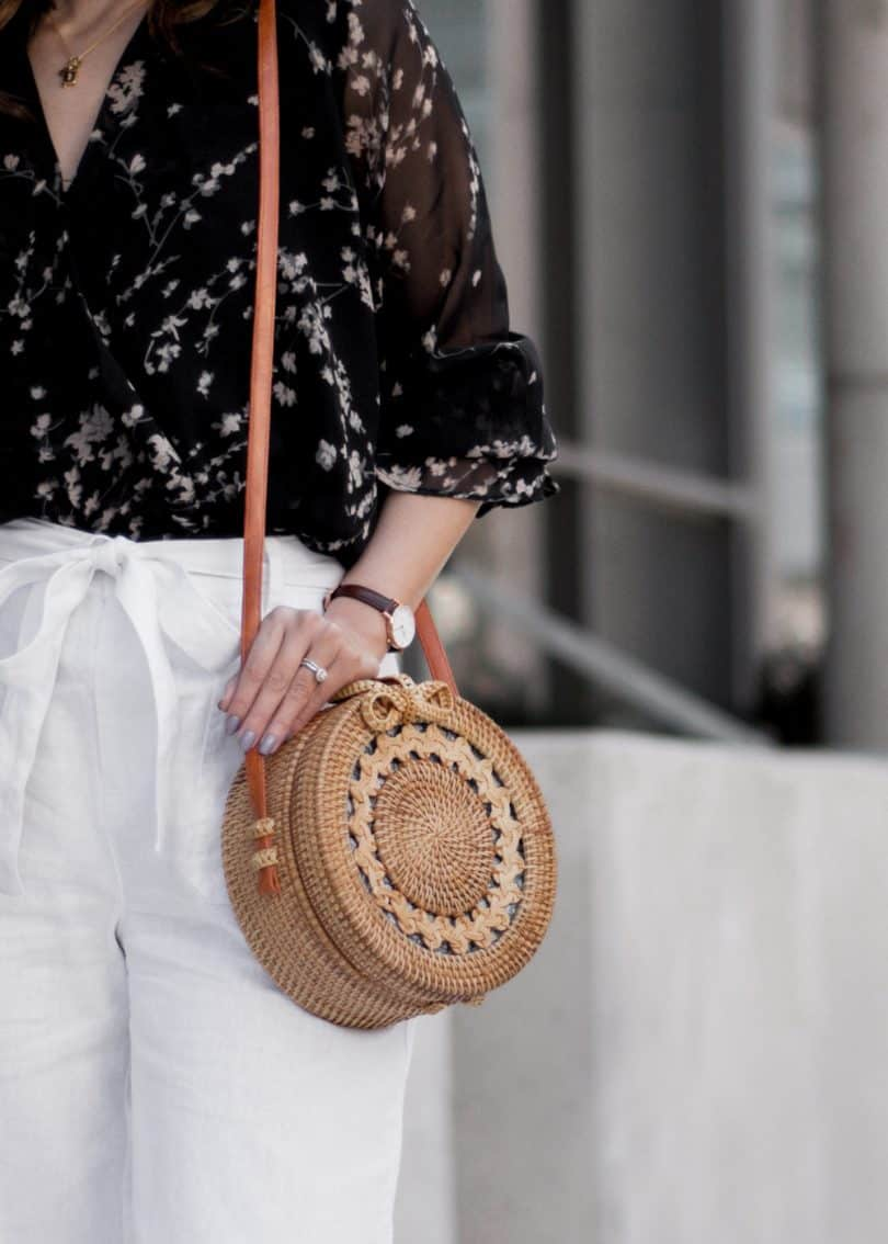 #OOTD details - Bali round wicker bag and Daniel Wellington Petite watch
