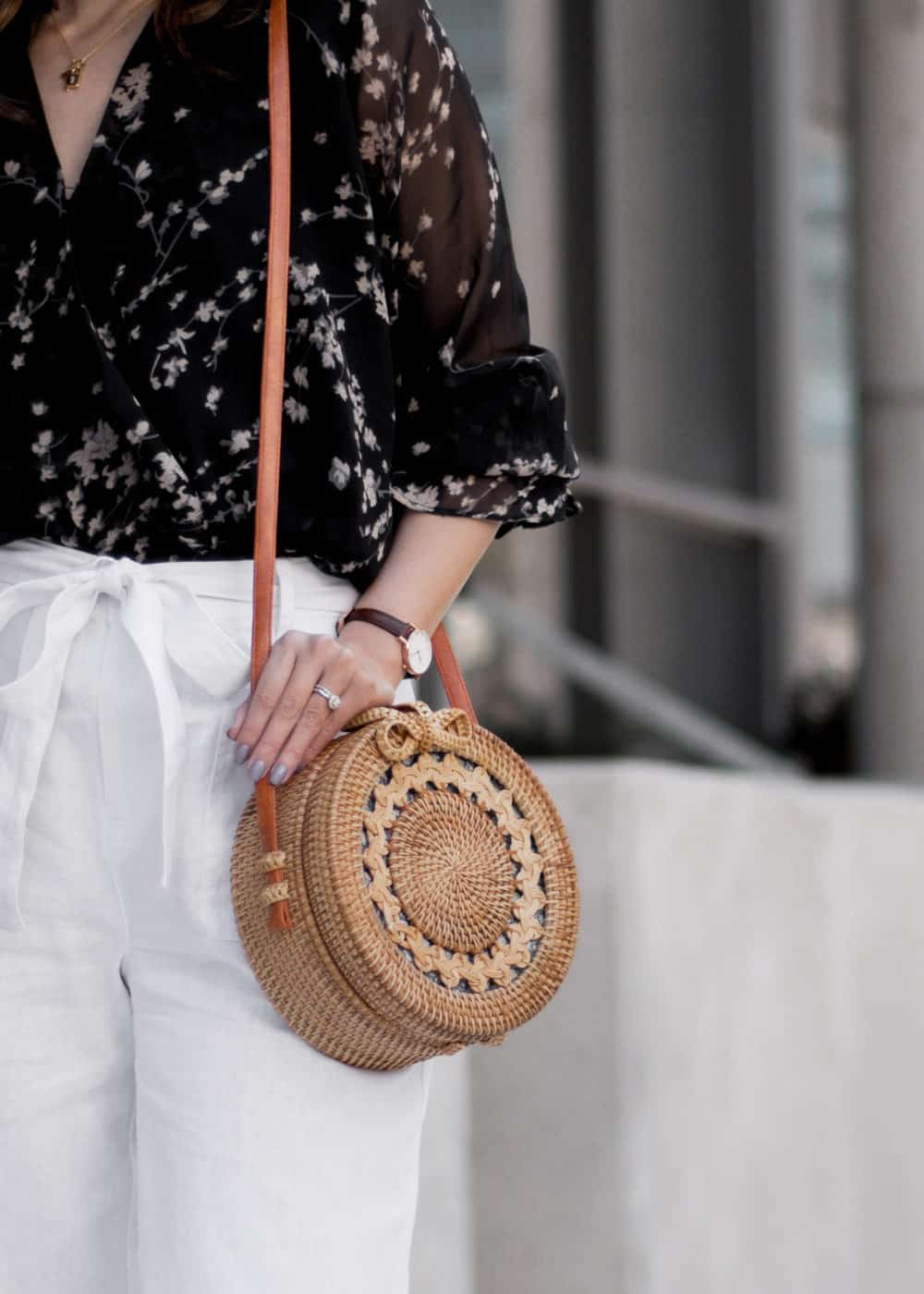 #OOTD details - Bali round wicker bag and Daniel Wellington Petite watch