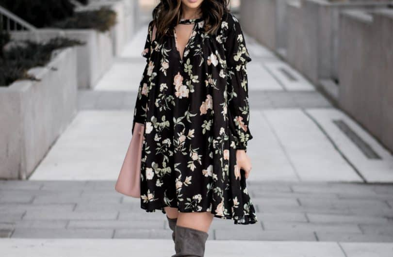 Toronto Streetstyle Look: Floral shift dress from Romwe, OTK boots from Steve Madden, Katie Loxton Bag