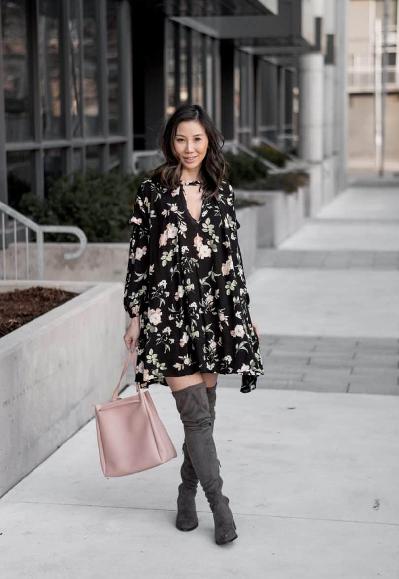 Spring #OOTD: Black lantern floral shift dress from Romwe, Steve Madden OTK books, and Kate Loxton Bucket Bag