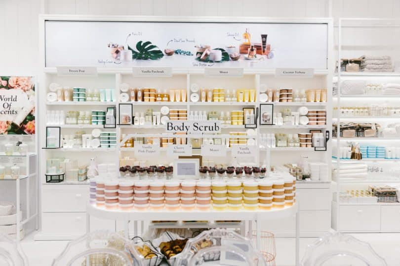 The wide selection of Laline body scrubs at their 1st Canadian store at CF Sherway Gardens