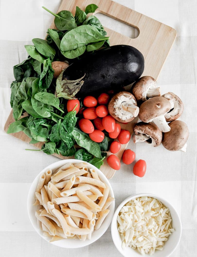 Market fresh ingredients from Pusetaris Fine Foods for summer pasta recipe