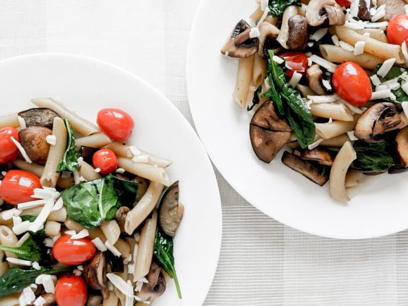 Make this easy summer pasta dish packed with fresh vegetables and ingredients.
