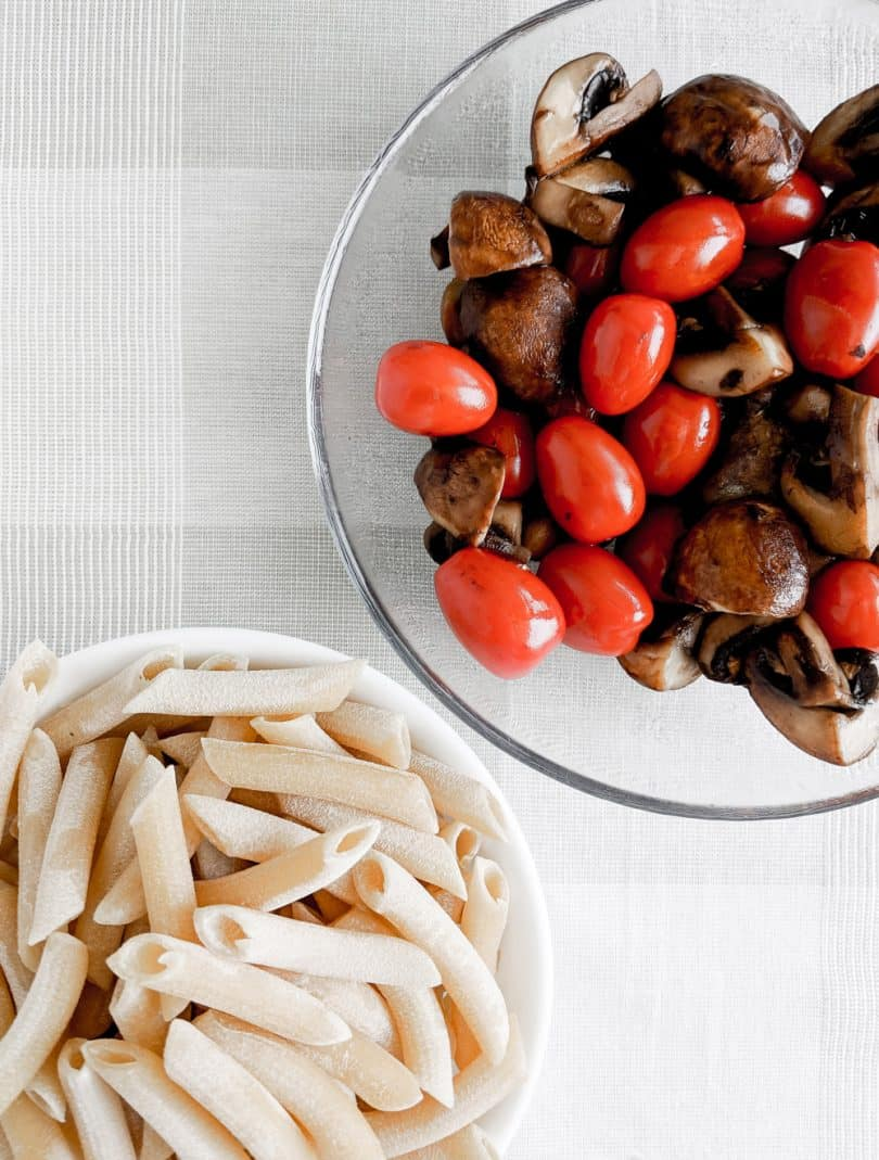 Preparing the fresh ingredients for your cremini mushroom and parmesan penne pasta