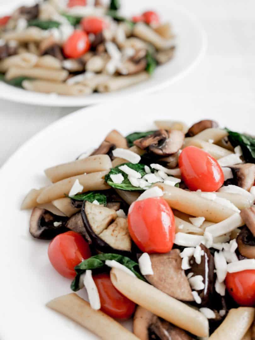 Summer Pasta Recipe - Cremini mushroom and eggplant parmesan pasta