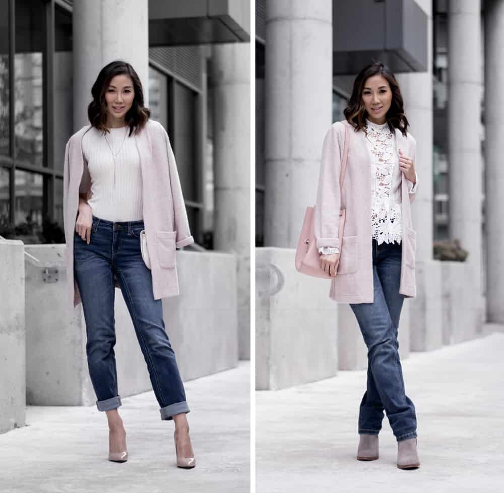 Fashion staples: classic straight leg denim and pink sweater. Styled 2 different ways
