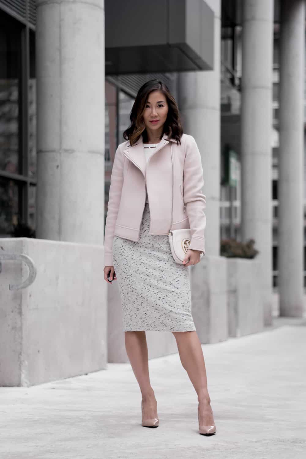 Office Look: #ootd with Ann Taylor pencil skirt, white blouse, pink moto jacket and nude pumps