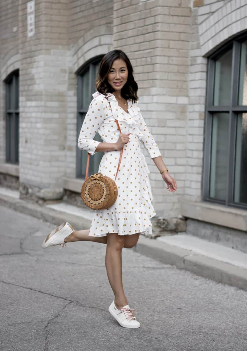 Summer #OOTD: Polka dot wrap dress from eShakti and Keds sneakers