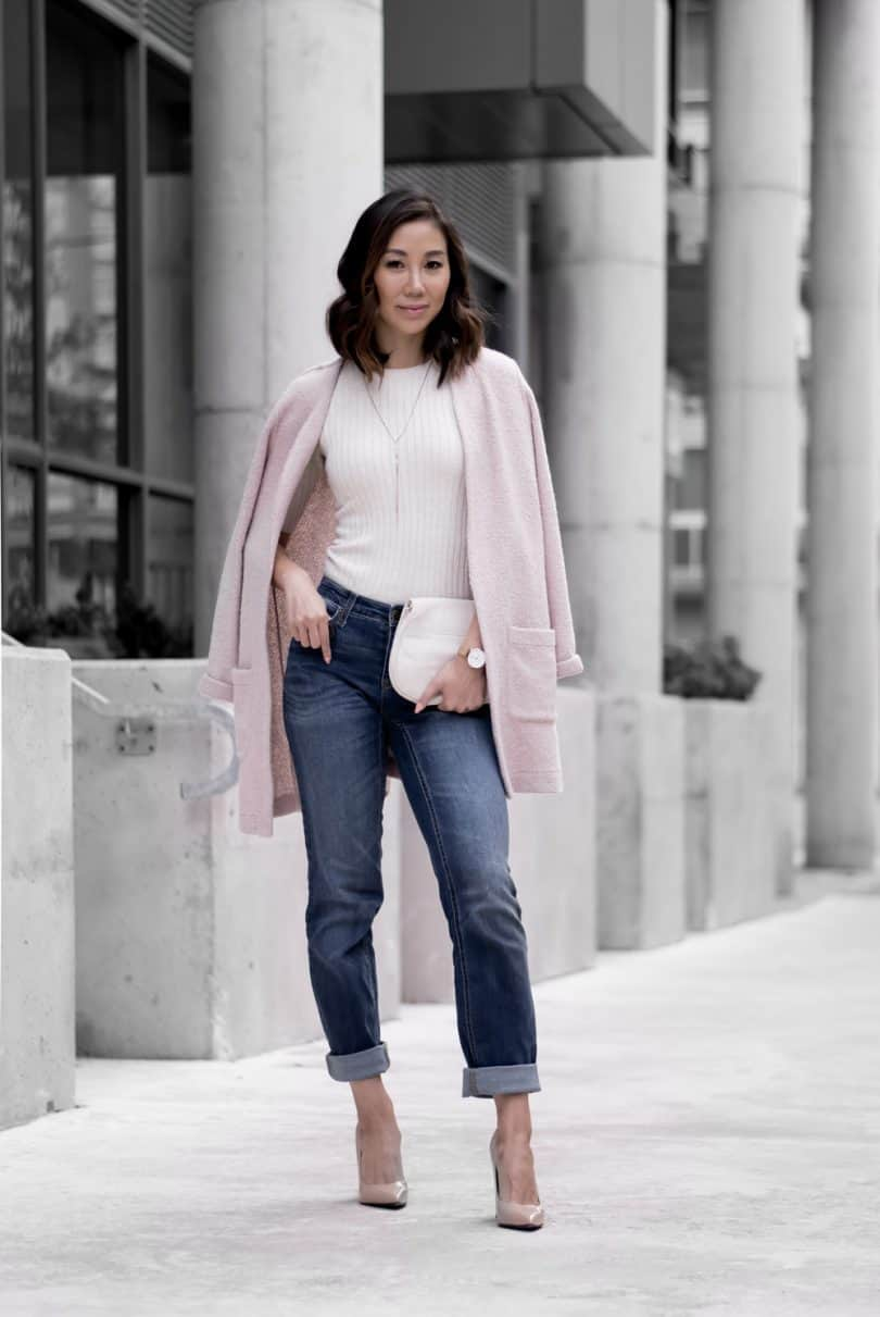 Casual Look #1: Rolled up denim with long pink cardigan, nude pumps, white clutch